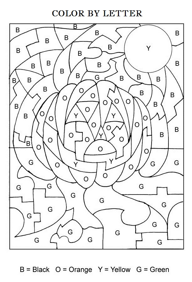 Coloring Book For Kids Games  Halloween Color By Letters Activity Coloring Pages for