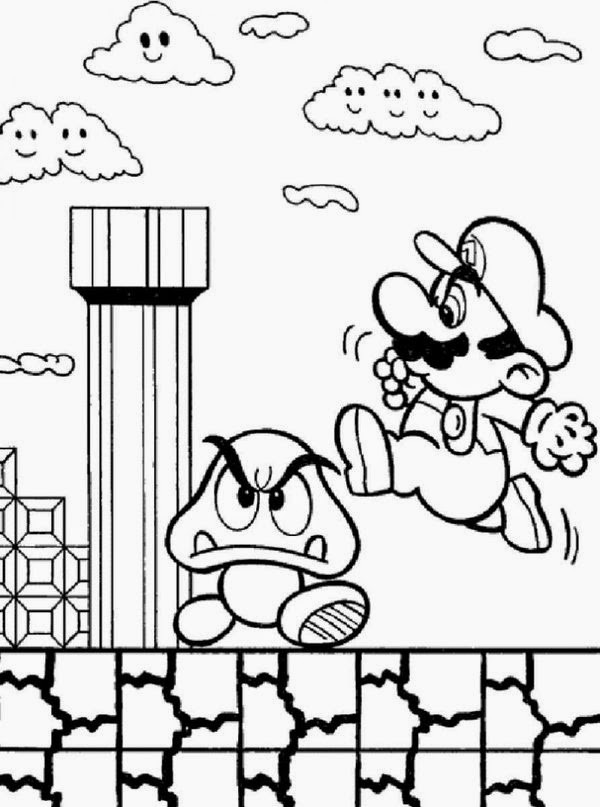 Coloring Book For Kids Games  line Coloring Super Mario Bros Coloring Pages For Kids