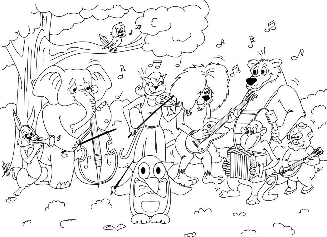 Coloring Book Games  friends orchestra coloring game printable book for