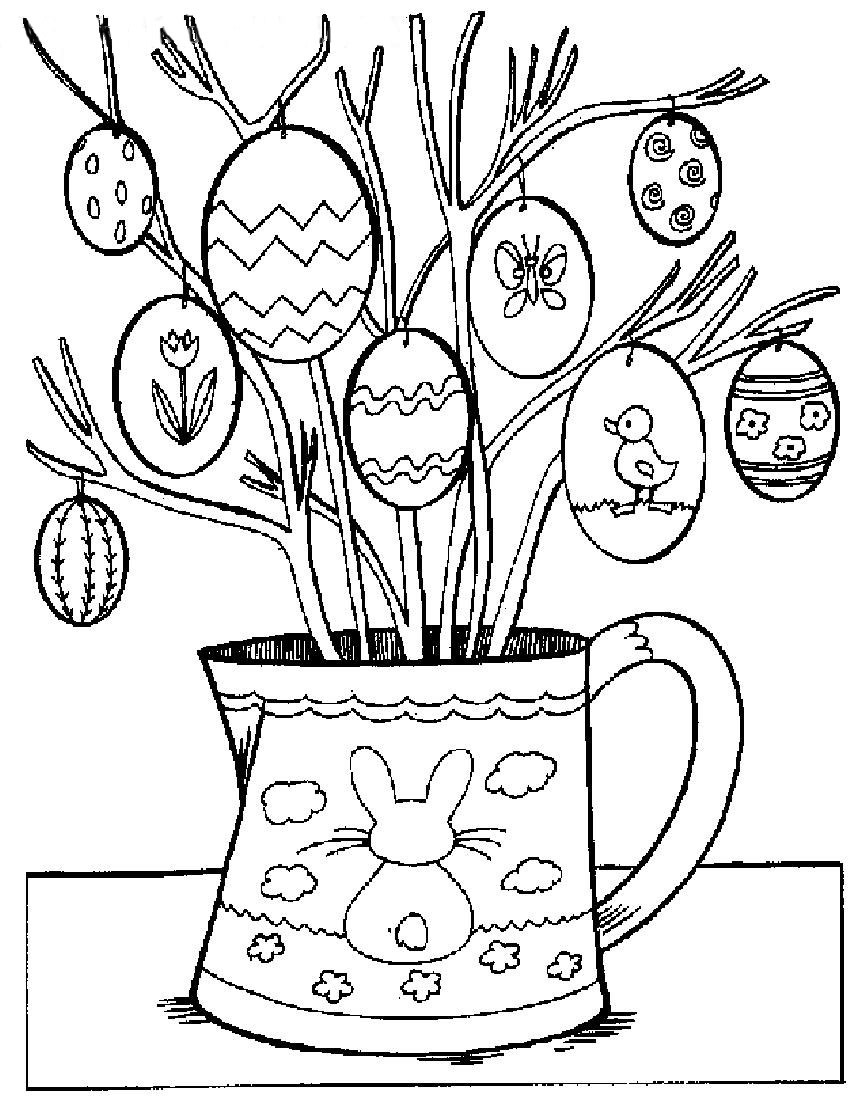Coloring Book Pages Easter  Easter Eggs