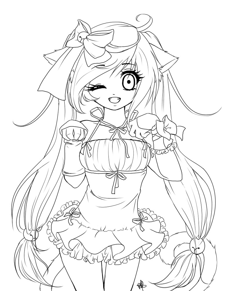 Coloring Book Pages Girls  Anime Girl Coloring Pages coloringsuite