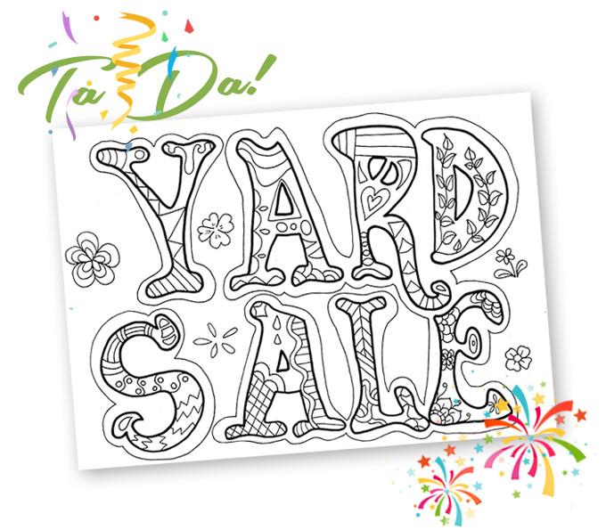 "Coloring Book Sales  She had me at ""Free Yard Sale printables"""