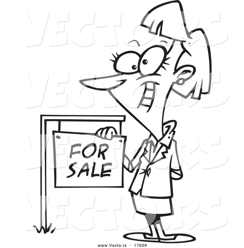 Coloring Book Sales  Vector of a Cartoon Female Realtor by a for Sale Sign