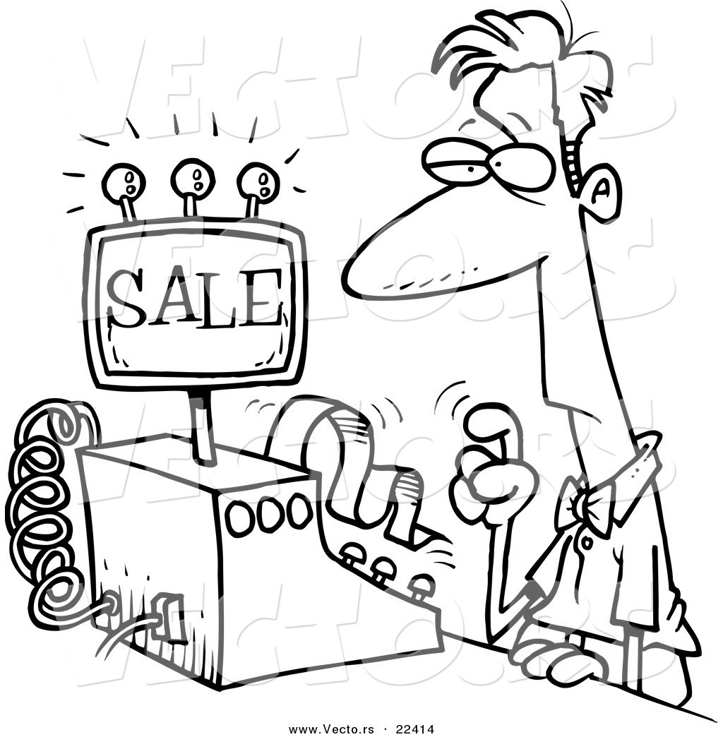 Coloring Book Sales  Cashier Black And White Clipart Clipart Suggest