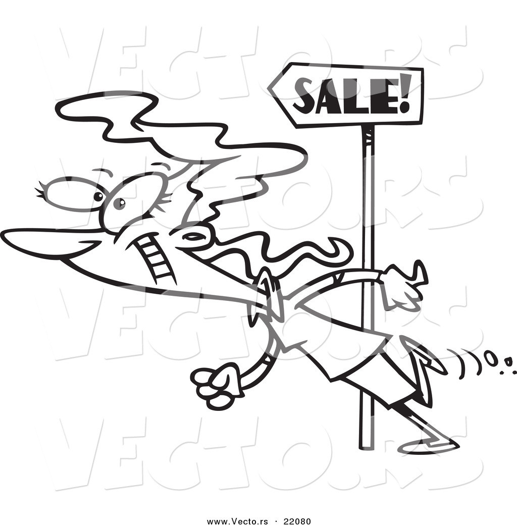 Coloring Book Sales  Vector of a Cartoon Woman Following Sale Signs Outlined