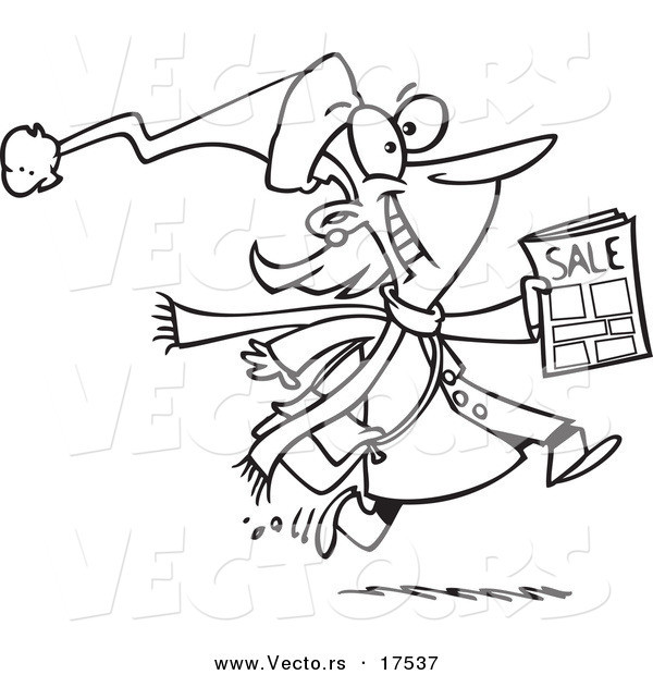 Coloring Book Sales  Vector of a Cartoon Excited Black Friday Shopper Running