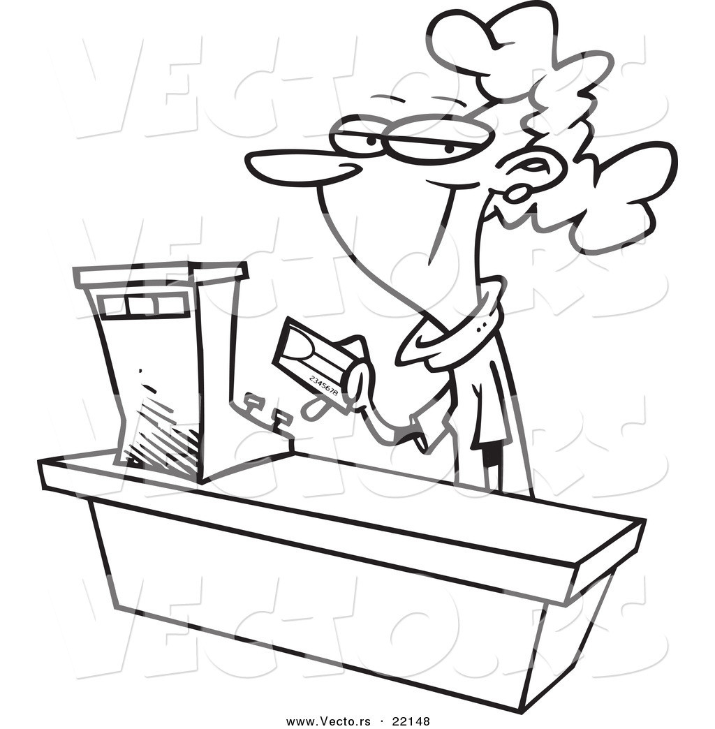 Coloring Book Sales  Vector of a Cartoon Female Sales Clerk Outlined Coloring