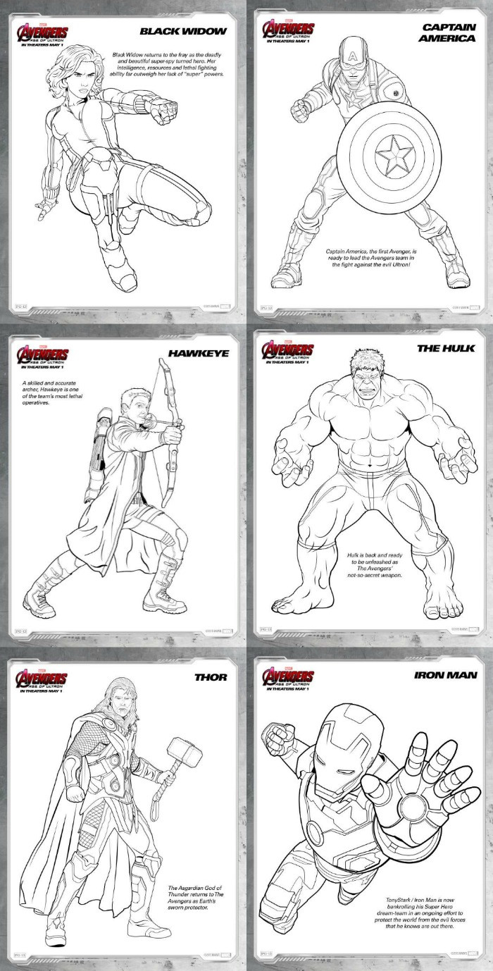 Coloring Pages Avengers  Avengers Age of Ultron Review and Free Printables