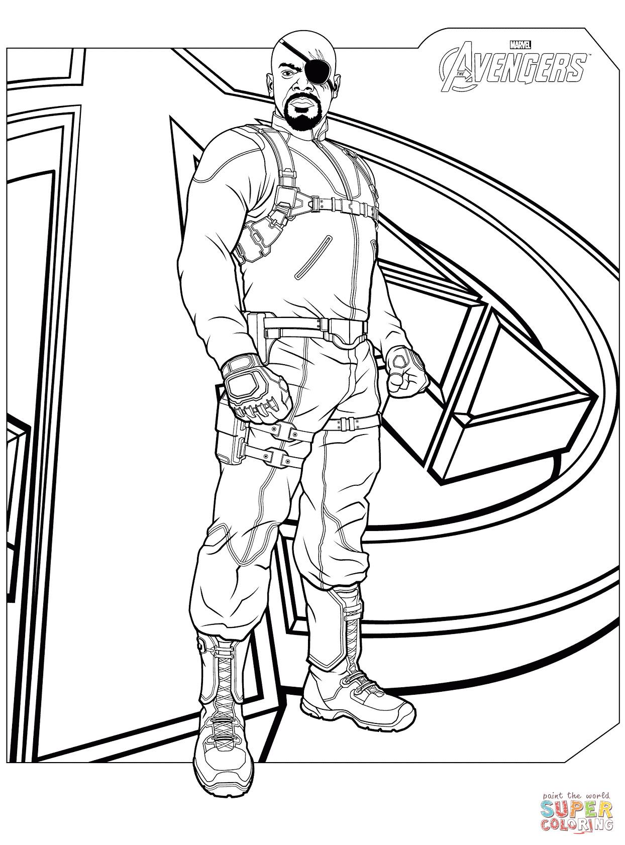 Coloring Pages Avengers  Avengers Nick Fury coloring page