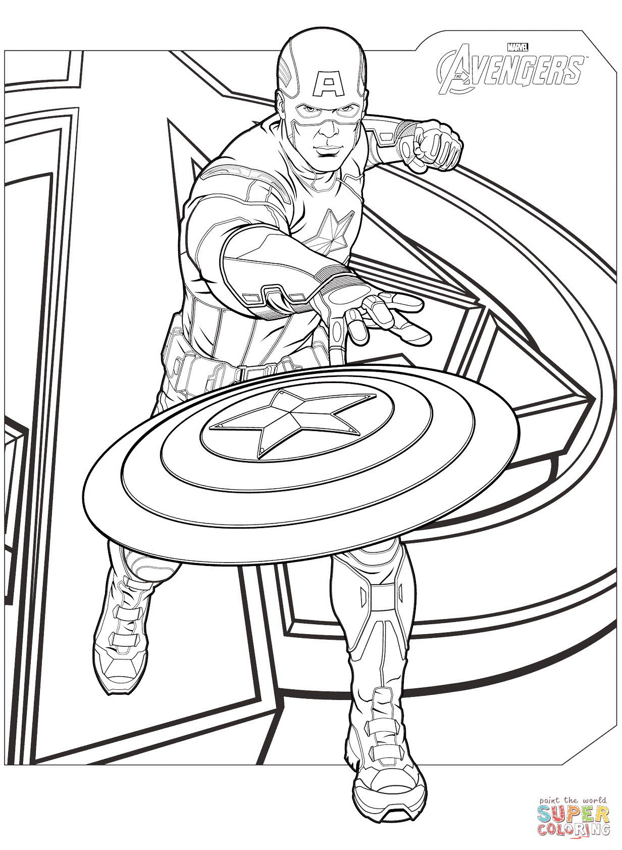 Coloring Pages Avengers  Avengers Captain America coloring page