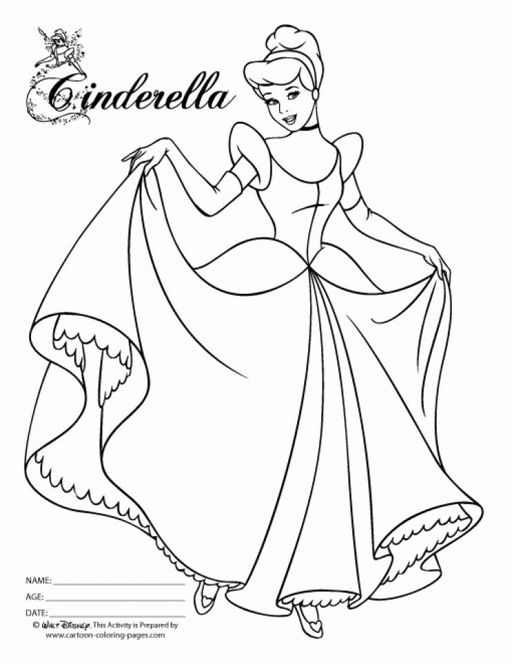 Coloring Pages Cinderella  20 Free Printable Princess Cinderella Coloring Pages