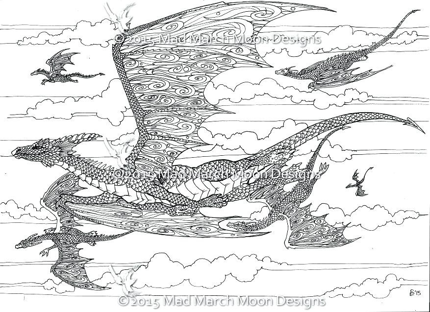 Coloring Pages For Adults Dragon  Hard Dragon Coloring Pages