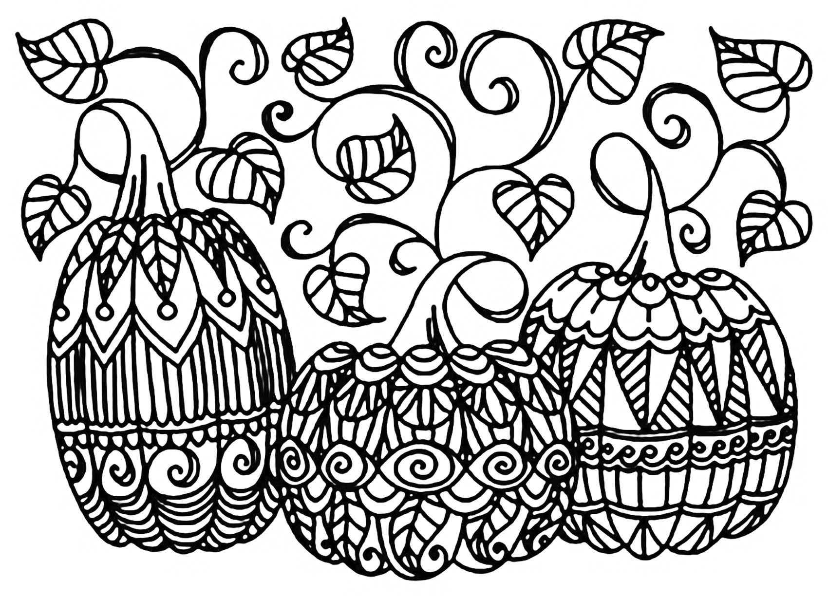 Coloring Pages For Adults Halloween  Halloween three pumpkins Halloween Adult Coloring Pages