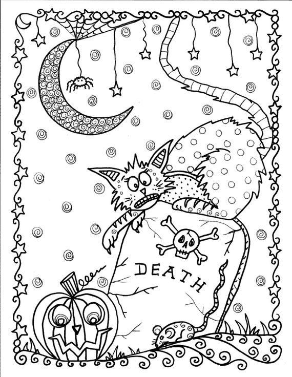 Coloring Pages For Adults Halloween  Instant Download Halloween Coloring pages Art to