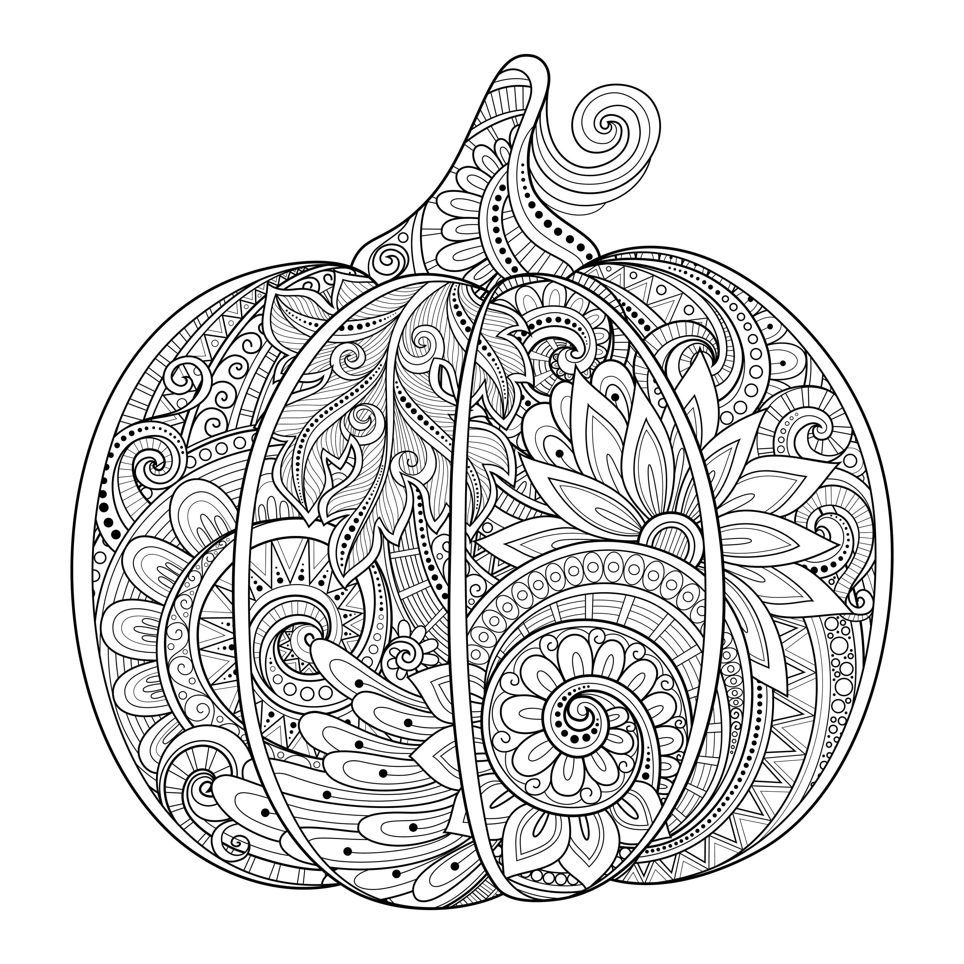 Coloring Pages For Adults Halloween  Beautiful halloween pumpkin zentangle irinarivoruchko
