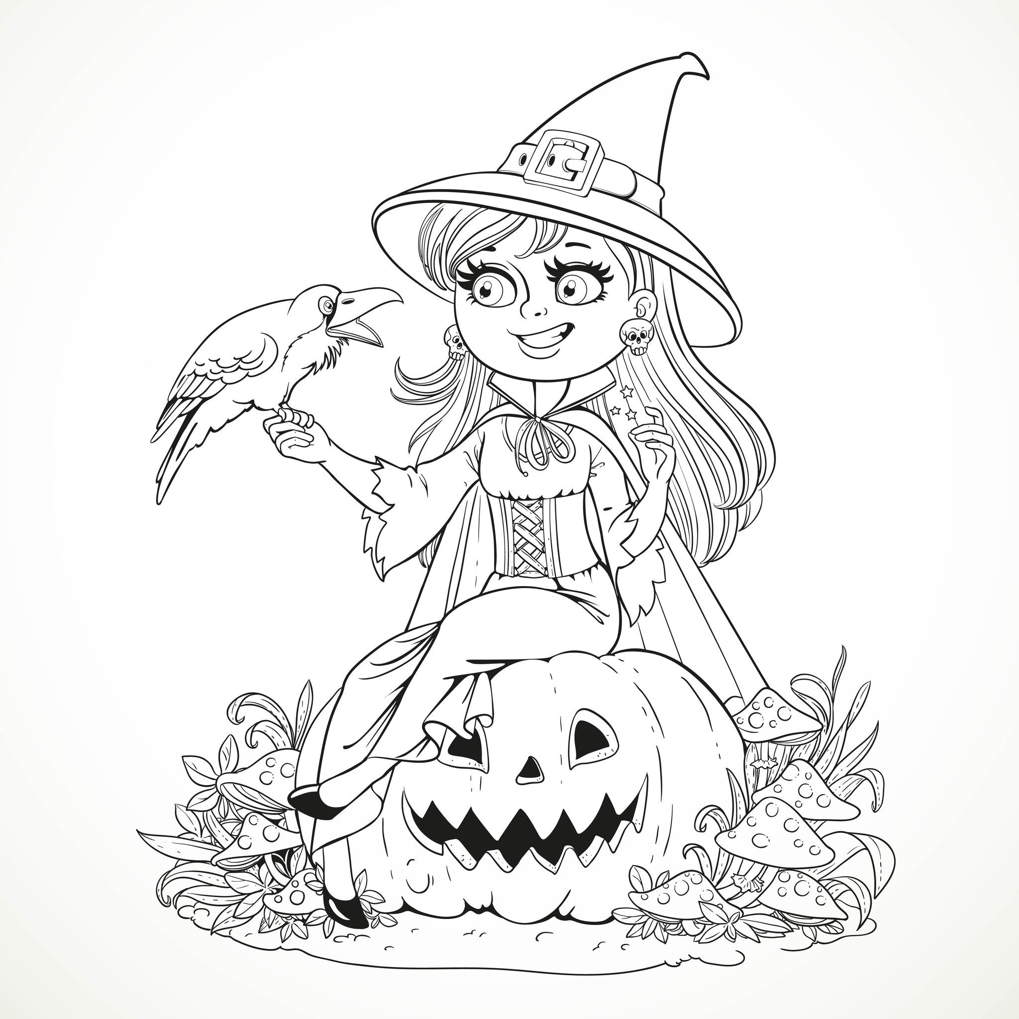 Coloring Pages For Adults Halloween  Halloween smiling witch and crow Halloween Adult