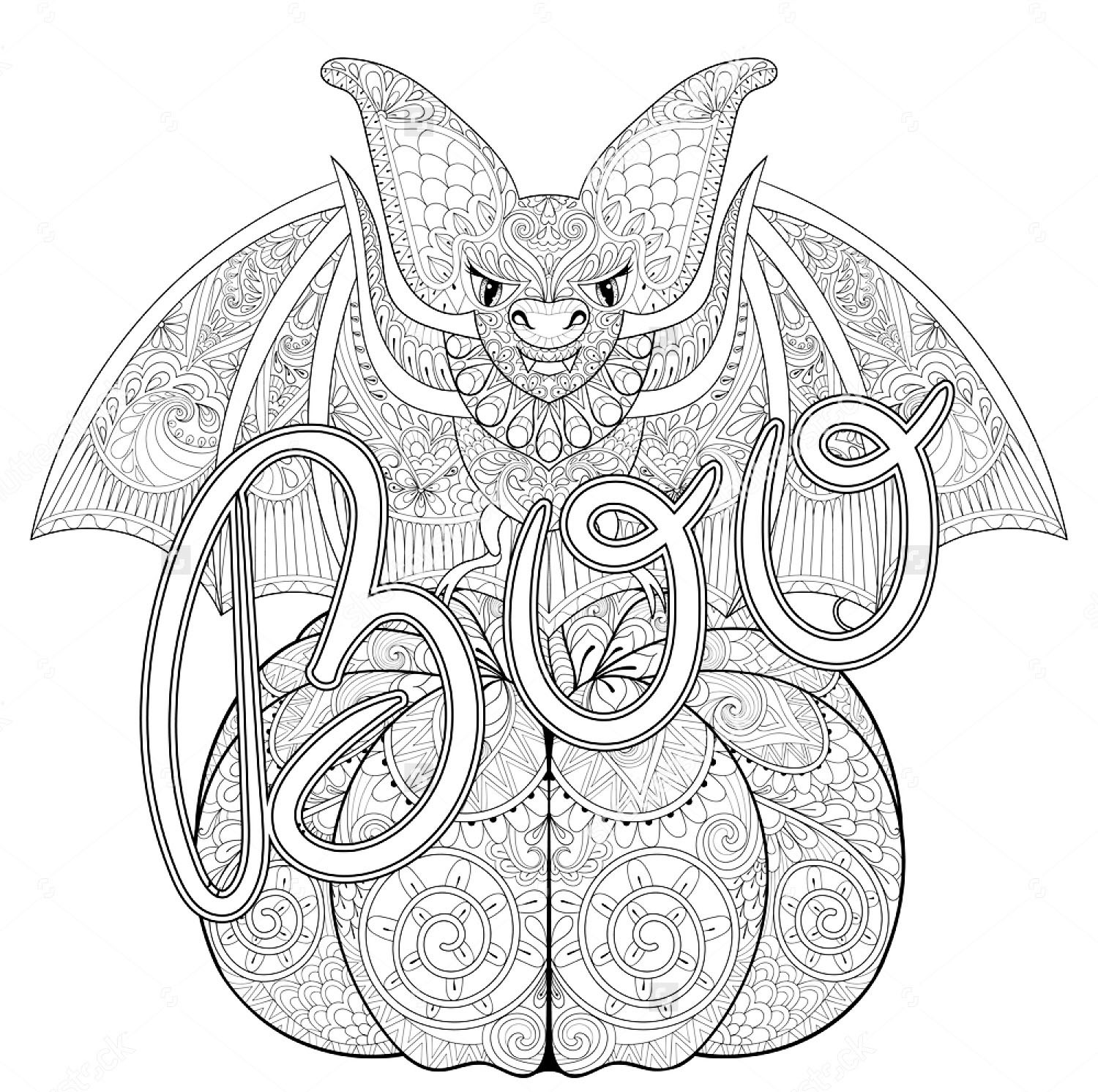 Coloring Pages For Adults Halloween  Halloween zentangle bat Halloween Adult Coloring Pages