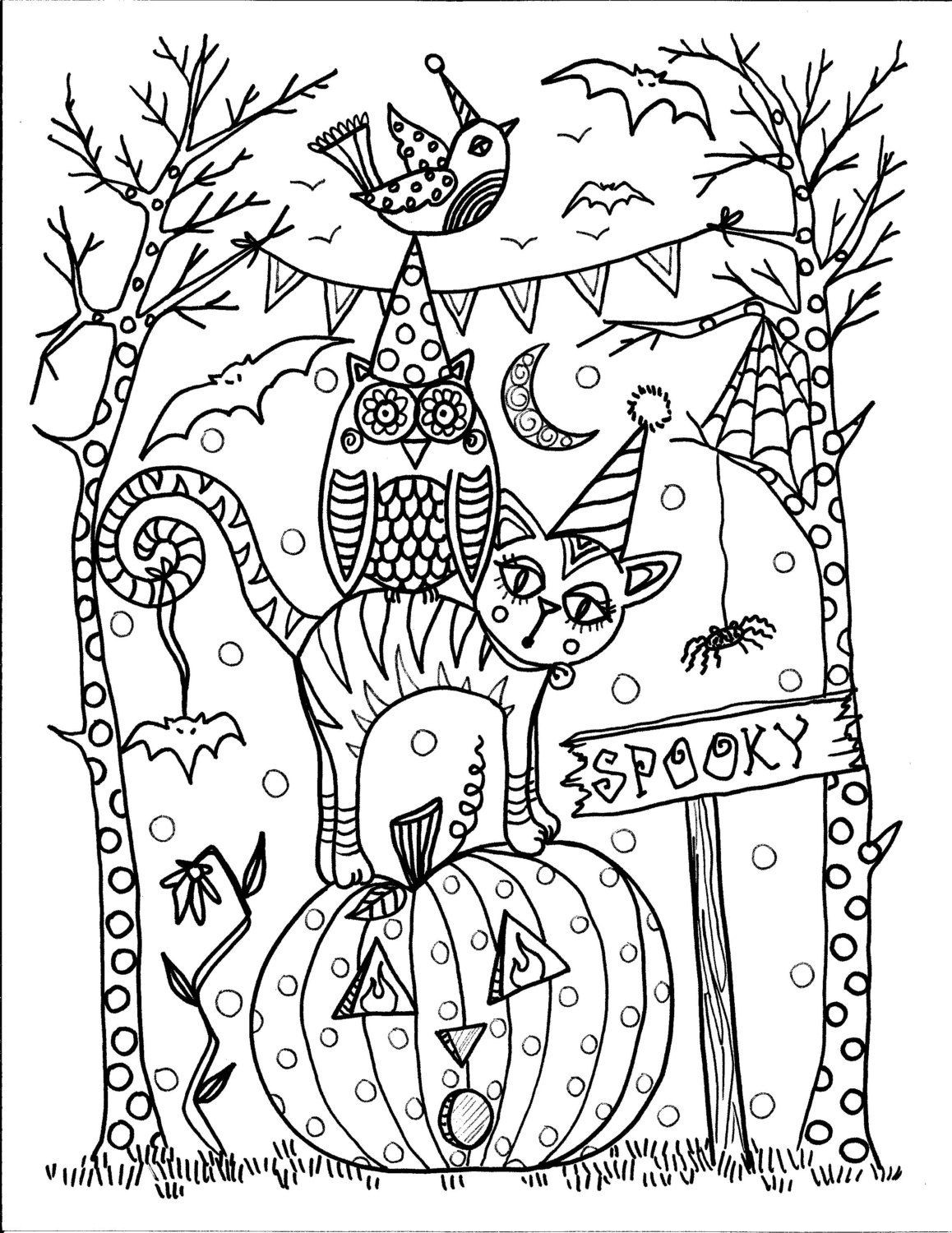 Coloring Pages For Adults Halloween  Instant Download Halloween Coloring pages 5 от