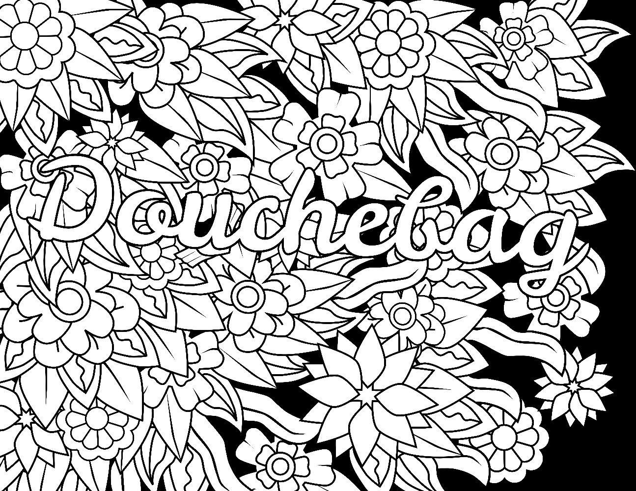 Coloring Pages For Adults Words  Best Douchebag Swear Word Coloring Page Adult Coloring