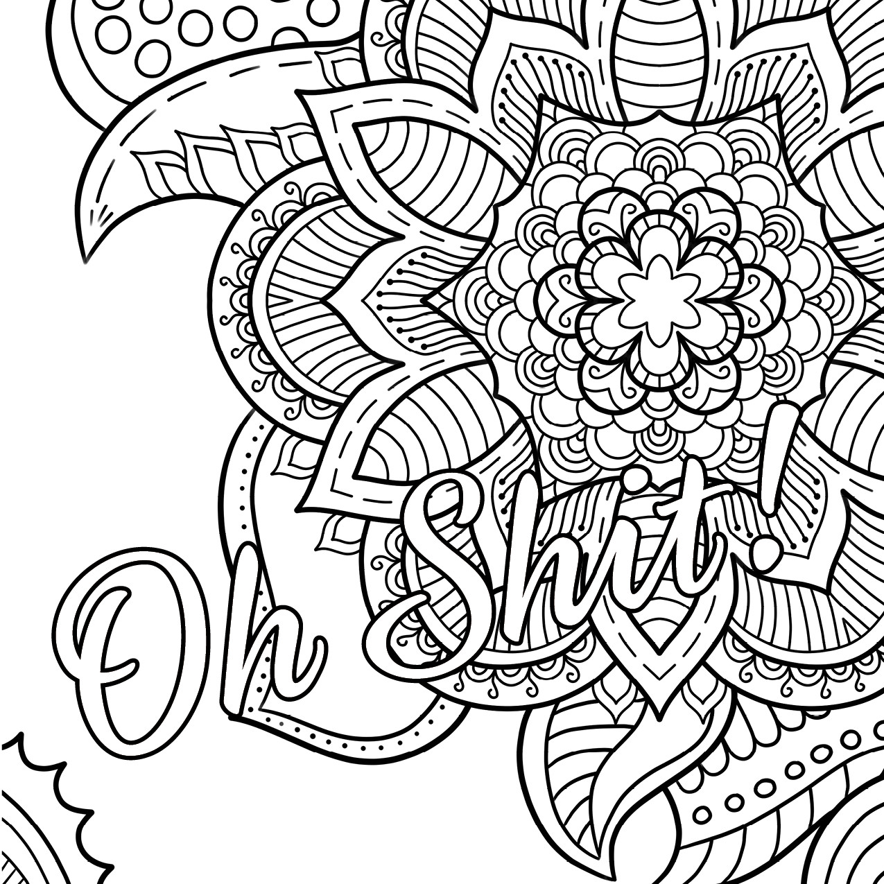 Coloring Pages For Adults Words  Oh Shit Free Coloring Page Swear Word Coloring Book