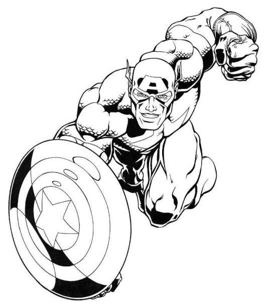 Coloring Pages For Boys Marvel  Captain America Marvel Superheroes Coloring Pages