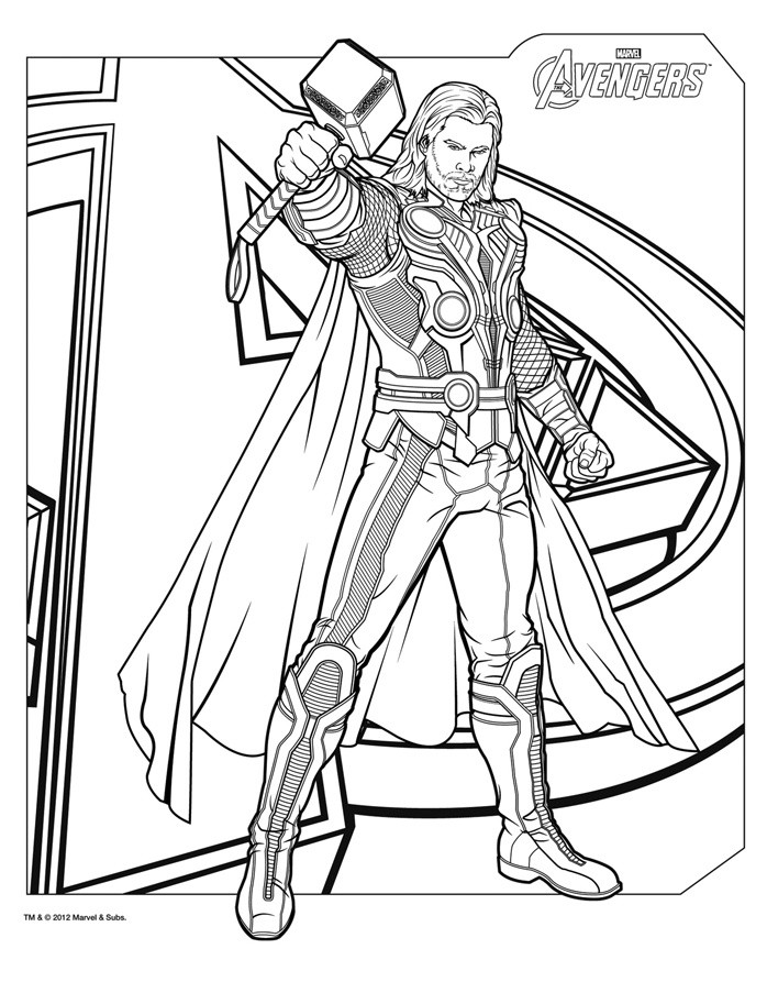Coloring Pages For Boys Marvel  Coloriage THOR The Avengers a blogueur