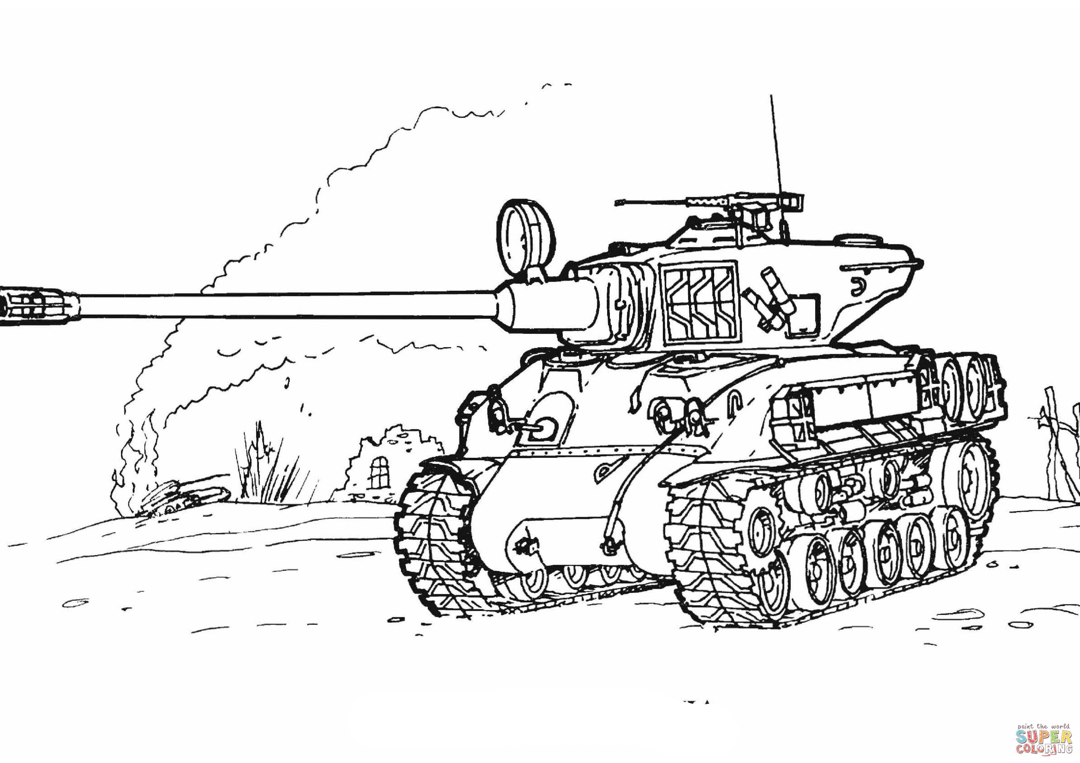 Coloring Pages For Boys Tanks  Coloriage Char D assaut M51 Super Sherman