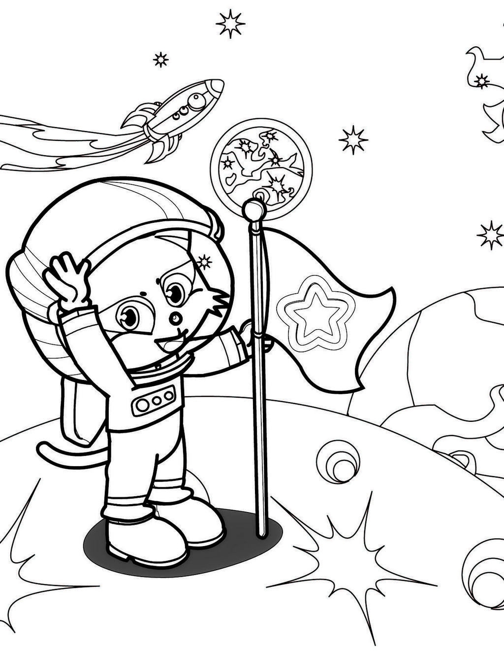 Best ideas about Coloring Pages For Girls 12 And Up . Save or Pin astronaut on the moon coloring picture for boys and girls Now.