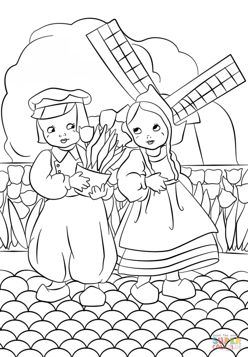 Coloring Pages For Girls And Boys To Print  Dutch Boy and Girl coloring page