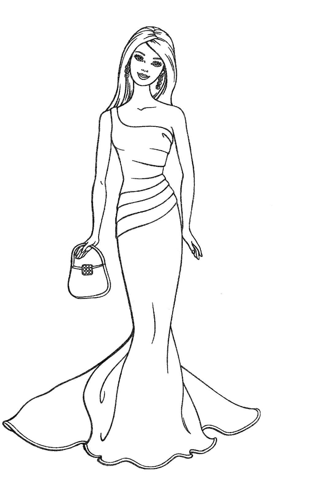 Coloring Pages For Girls Barbie  Barbie Coloring Pages Printable To Download