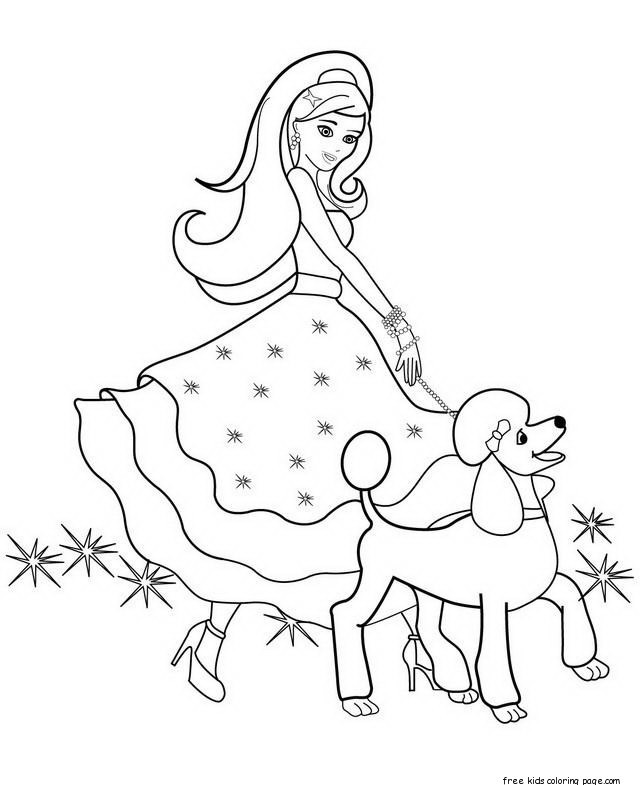 Coloring Pages For Girls Barbie  Printable beautiful barbie coloring pages for girls to