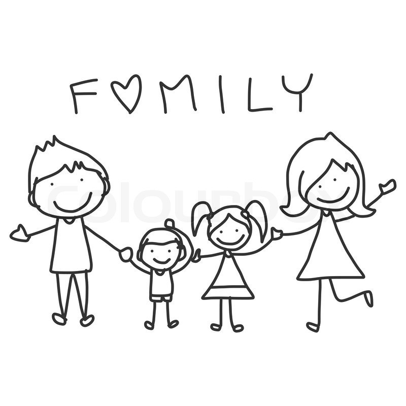 Best ideas about Coloring Pages For Girls From I Love My Family . Save or Pin Hand Zeichnung glückliche Familie Now.