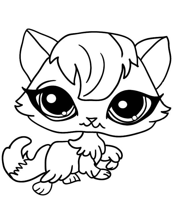 Best ideas about Coloring Pages For Girls Of Cats With Tearas . Save or Pin Big Eyed Female Cat For Pet Coloring Page Now.