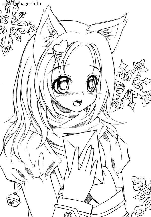Best ideas about Coloring Pages For Girls Of Cats With Tearas . Save or Pin Anime Cat Girl Coloring Pages 417 Cat Coloring Pages Now.