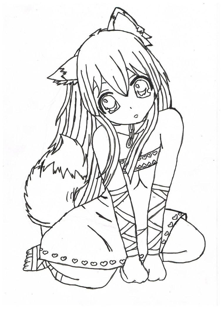 Best ideas about Coloring Pages For Girls Of Cats With Tearas . Save or Pin Anime Girl Coloring Pages coloringsuite Now.