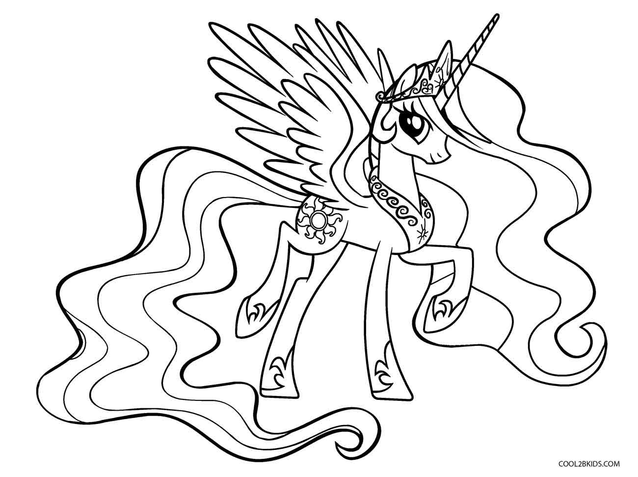 Coloring Pages For Girls Princess Celestia  Free Printable My Little Pony Coloring Pages For Kids
