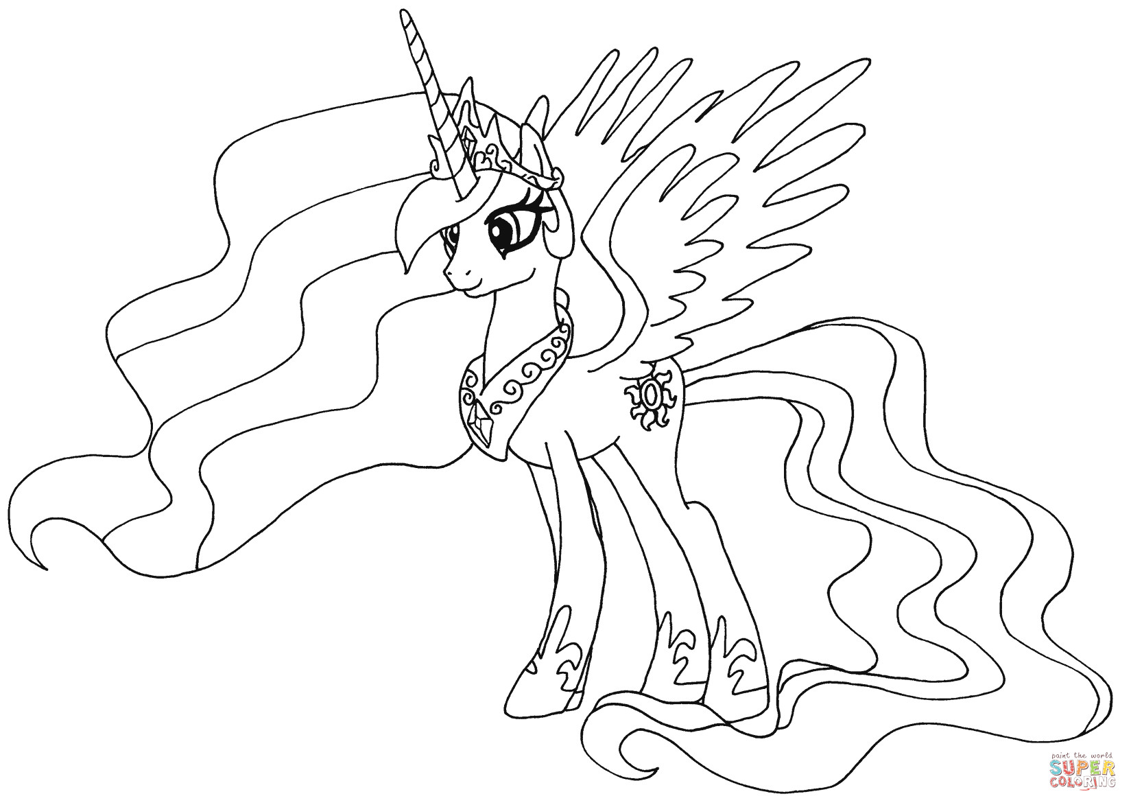 Coloring Pages For Girls Princess Celestia  Princess Celestia coloring page