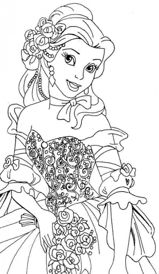 Coloring Pages For Girls Princess  Get This Belle Coloring Pages Disney Princess for Girls