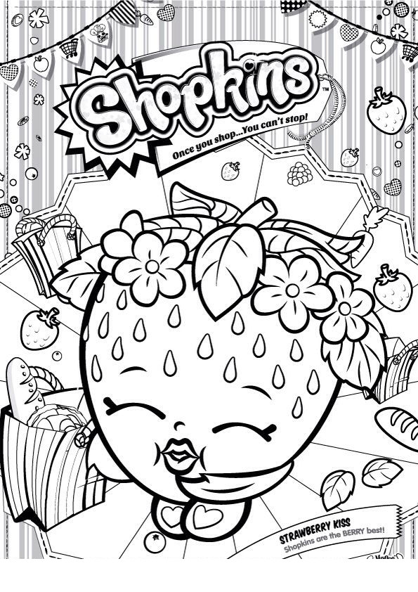 Coloring Pages For Girls Shopkins Apple  Desenho de Shopkins morango para colorir Tudodesenhos