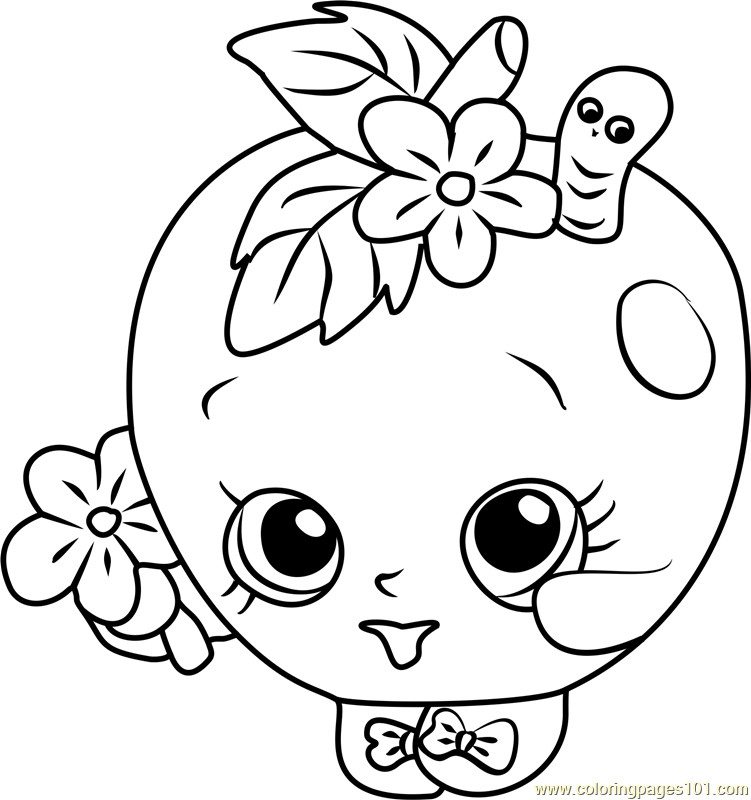 Coloring Pages For Girls Shopkins Apple  Apple Blossom Shopkins Coloring Page Free Shopkins