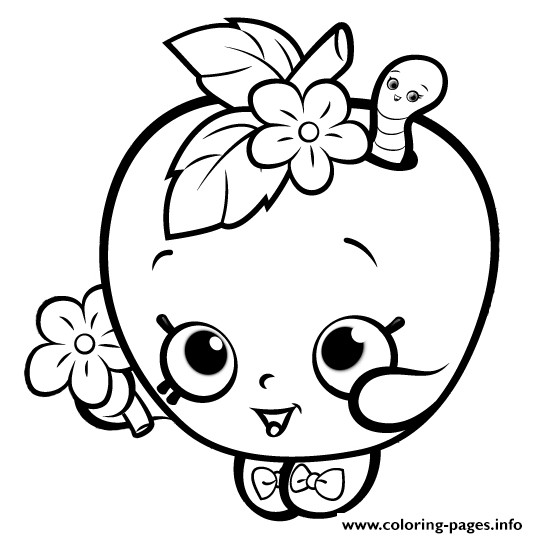 Coloring Pages For Girls Shopkins Apple  Cute Shopkins For Girls Coloring Pages Printable