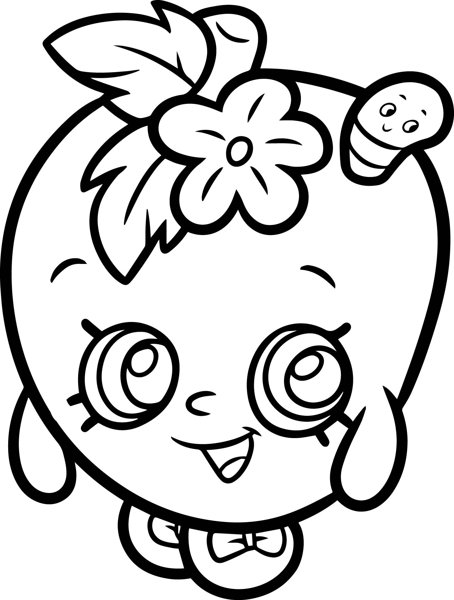Coloring Pages For Girls Shopkins Apple  Apple Blossom From Shopkins Coloring Page