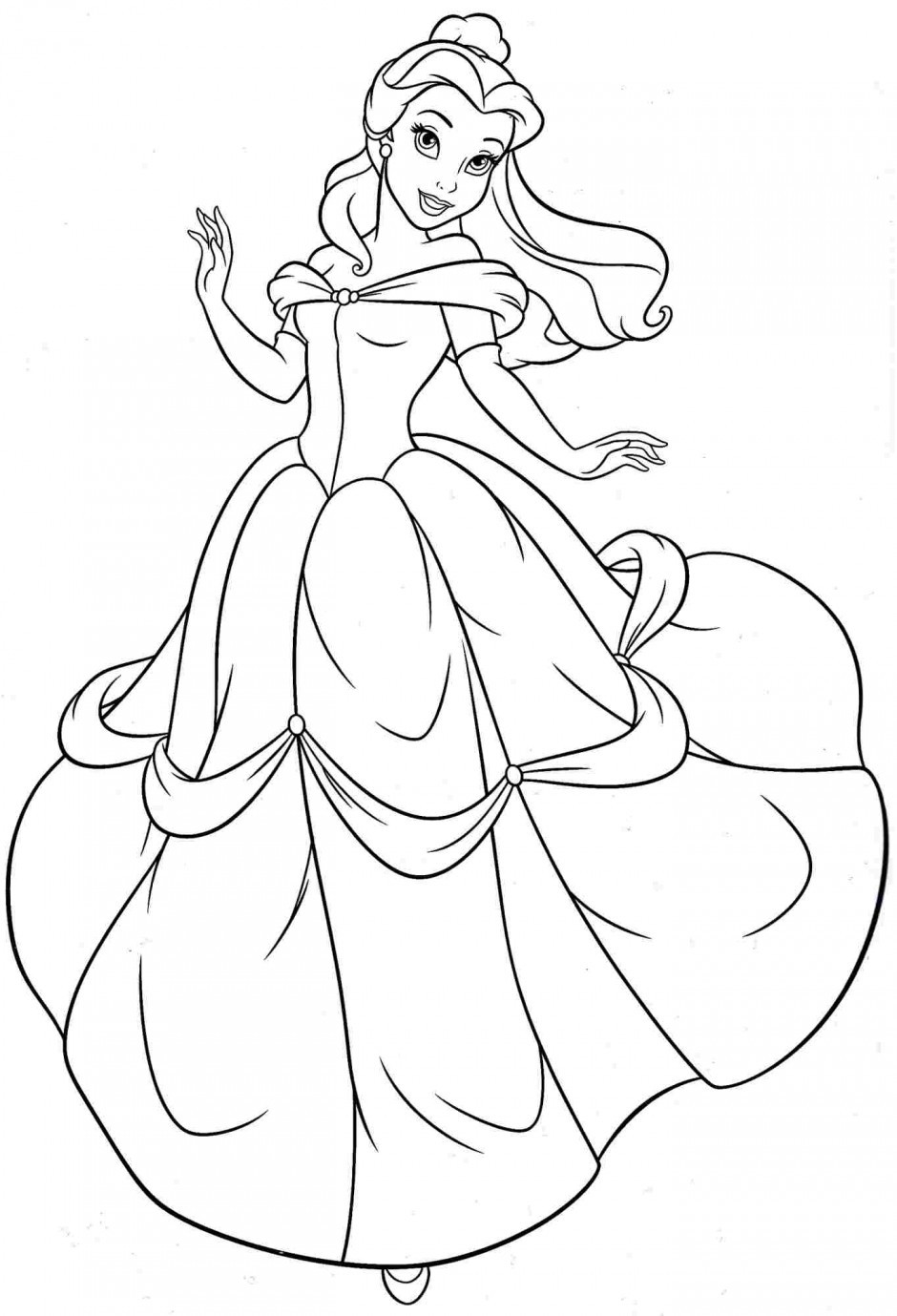 Coloring Pages For Kids Princesses  Free Printable Belle Coloring Pages For Kids