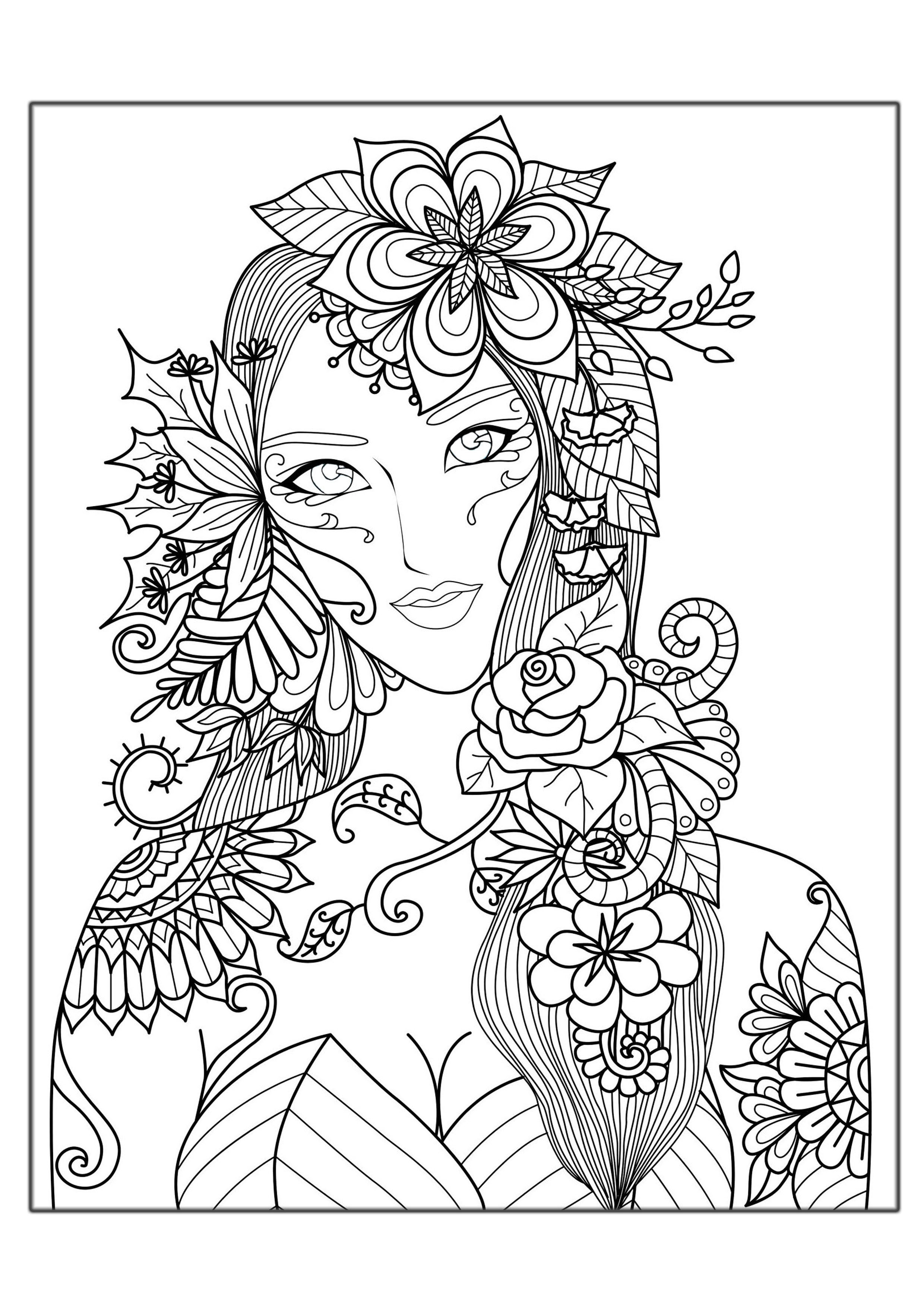 Coloring Pages For Women  Hard Coloring Pages for Adults Best Coloring Pages For Kids