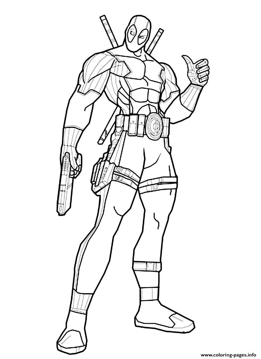Coloring Pages To Color Online For Free  Deadpool line Coloring Pages Printable