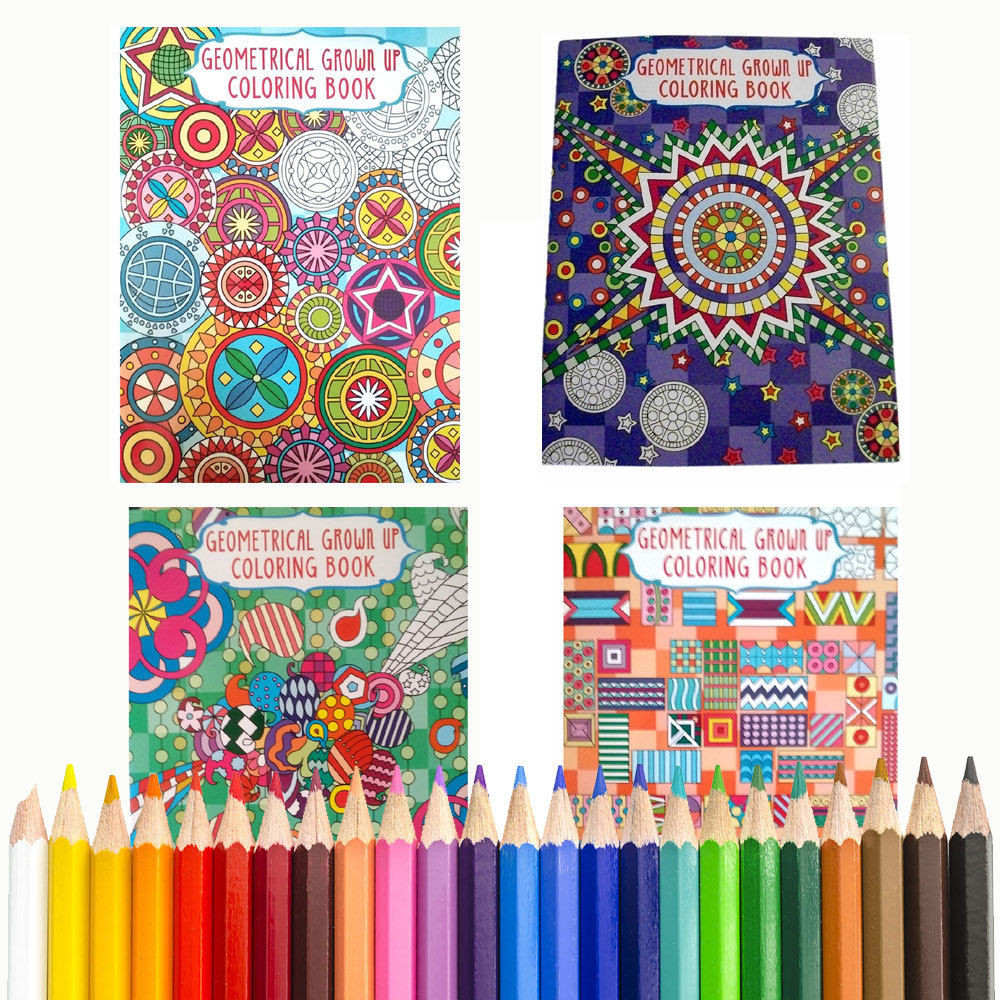 Coloring Pencils For Adult Coloring Books  4 Coloring Books BONUS COLORED PENCILS Geometrical