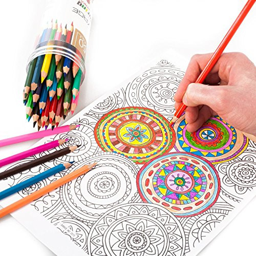 Coloring Pencils For Adult Coloring Books  Voyage Designs Colored Pencils 50 Count Pre Sharpened