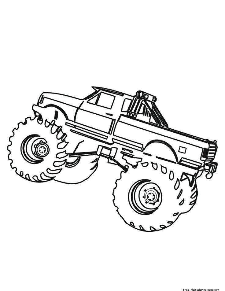 Coloring Sheets For Boys Monster Truck  Printable monster truck coloring pages for kids Free