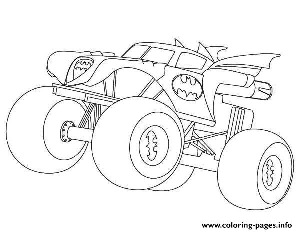 Coloring Sheets For Boys Monster Truck  Batman Monster Truck Coloring Pages Printable