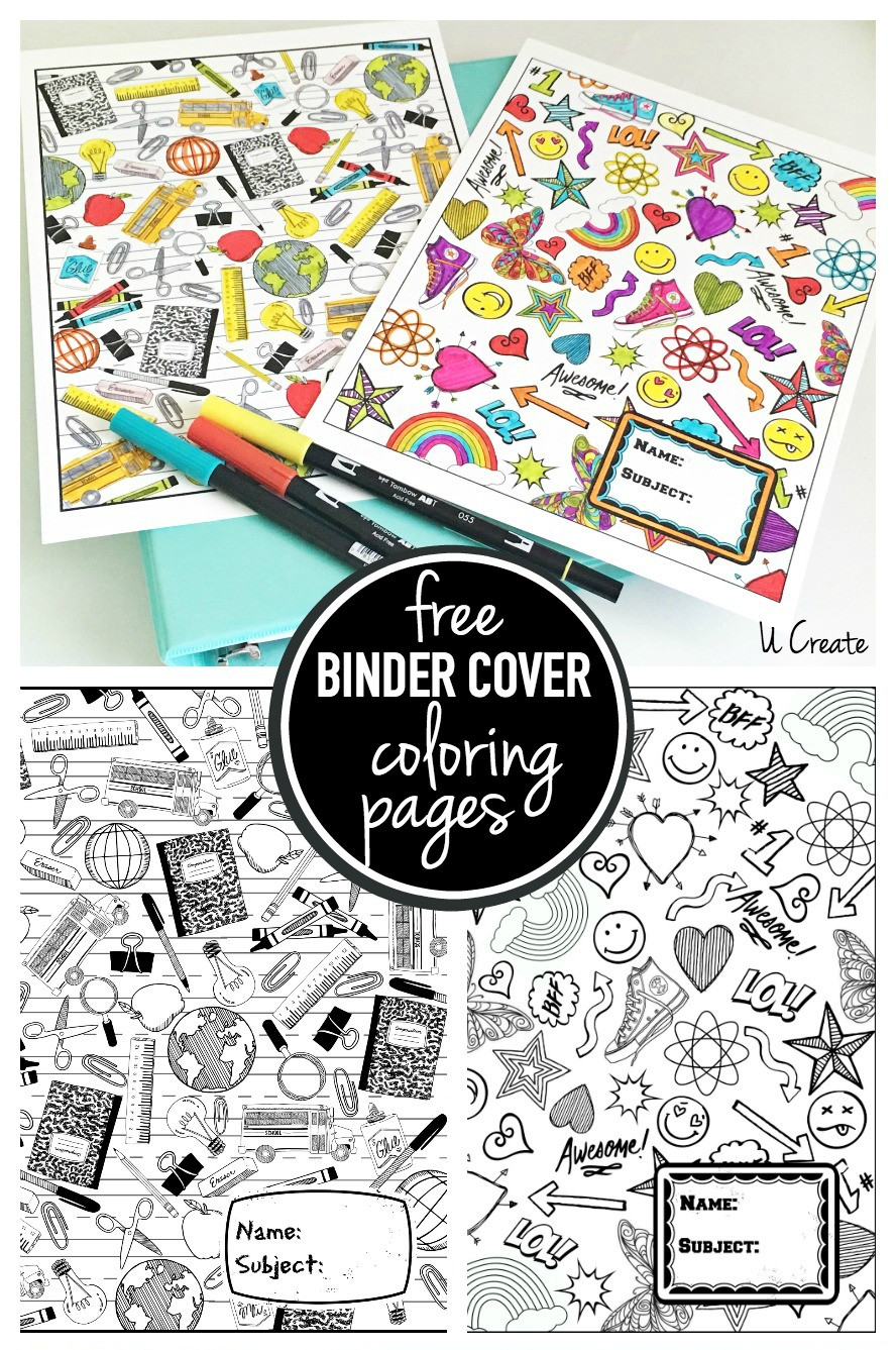 Coloring Sheets For Girls Binders  Binder Cover Coloring Pages